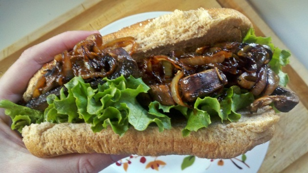 Portabella Mushroom Sandwich with Caramelized Onion Jalapeno Sauce