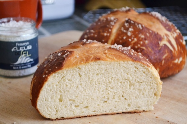 pretzel bread sliced