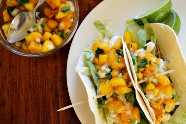 mushroom tacos with fresh peach salsa