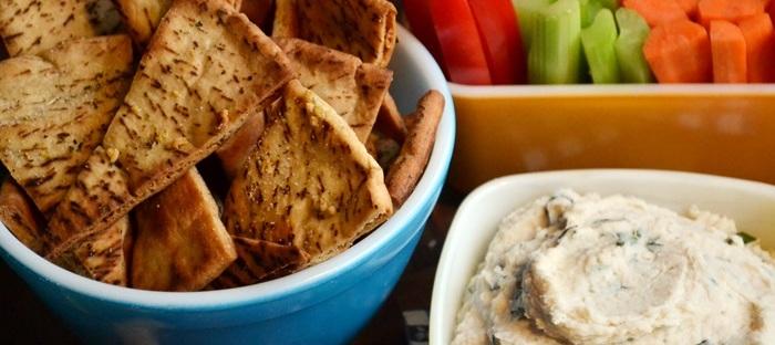 white bean dip with homemade pita chips
