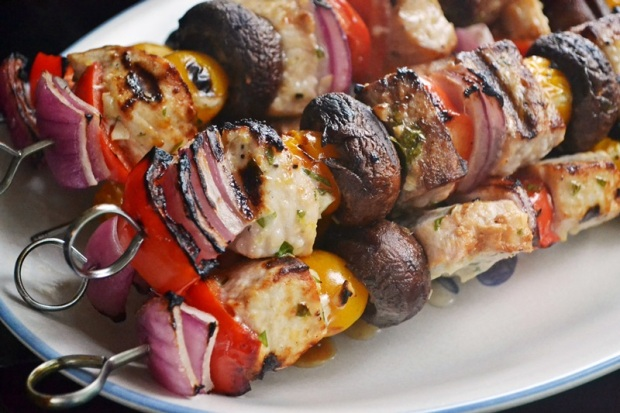 Grilled swordfish kabobs.