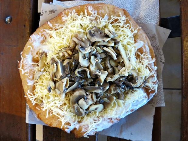 Hungarian Lángos with mushrooms.