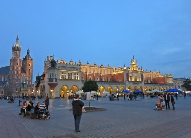 Evening settles over beautiful Krakow.