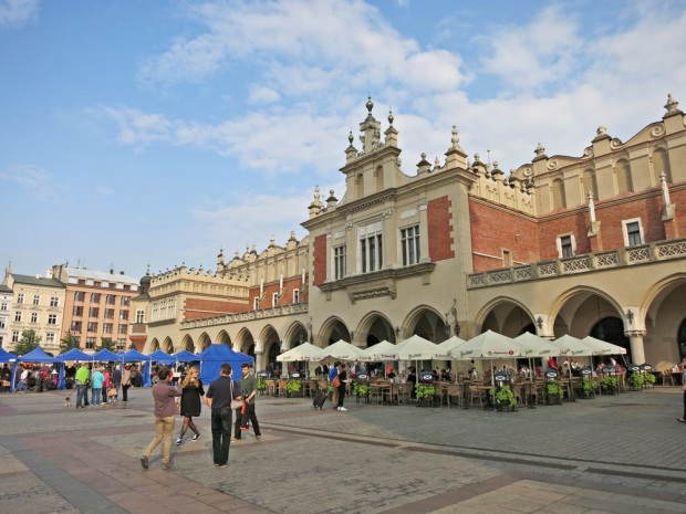 One side of the main square in Krakow.