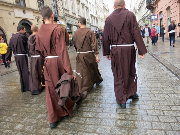 Krakow monks stroll the streets.