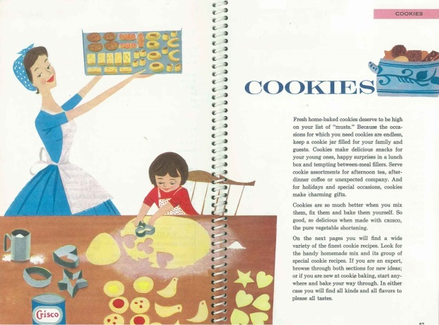 """A peek at the Cookie Spread from 1959 Crisco's 1959 """"Praise for the Cook."""""""