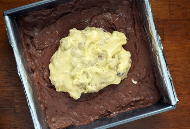 two-layer brownie batter